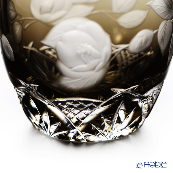 Kagami Crystal / Kiriko Flashed Glass '12 Months / Camellia - Feburuary' Brown T535/2873BLK Sake Cup