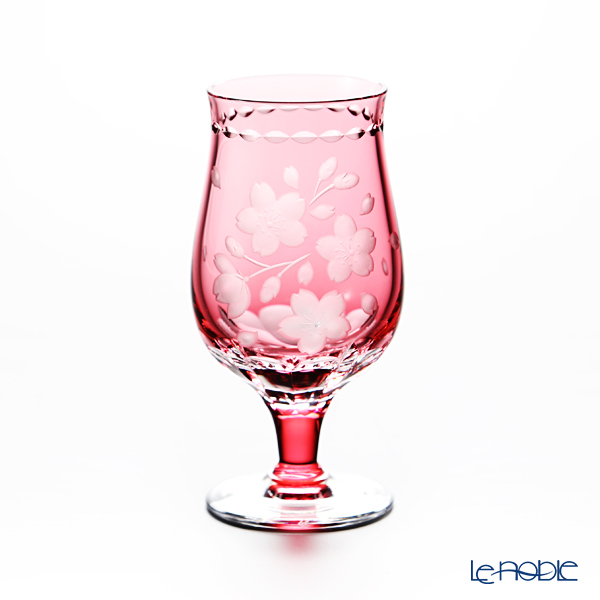 Kagami Crystal / Kiriko Flashed Glass '12 Months / Cherry Blossom - April' Red KW286/2875CAU Pedestal Cup