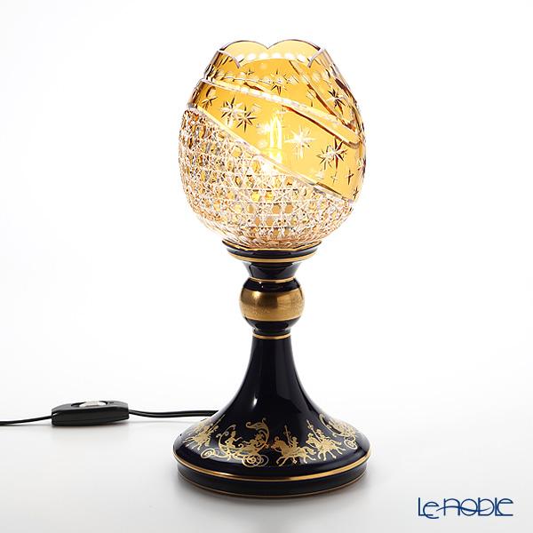 大倉陶園 メリーゴーランド × カガミクリスタル 江戸切子 アンバーランプスタンド 57LQ635/E267-CUM 白熱灯電球仕様