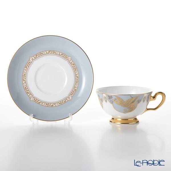 Okura Art China 'Phoenix & White Birch' Green Platinum & Blue Gold 6CR/A946-1 Cup & Saucer 195ml (set of 2 colors)