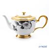 Okura Art China 'Ink Drawing Camellia' Black & Gold Emboss 9B/A322 Tea Pot 110ml