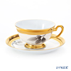 Okura Art China 'Ink Drawing Camellia' Black & Gold Emboss 6C/A322 Tea / Coffee Cup (combined) & Saucer 195ml