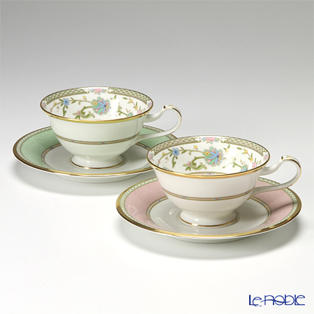 ノリタケ ヨシノ Y6988/998307ティー・コーヒー兼用 碗皿 ペア ピンク&グリーン