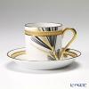Okura Art China '12 Months / January – Pine' Black & Gold Emboss 85C/E030 Cup & Saucer 170ml