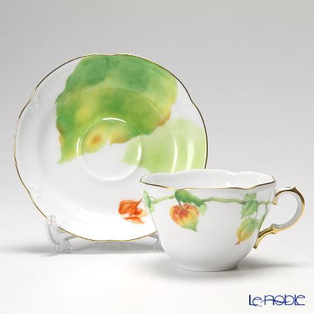 大倉陶園 碗皿ごよみ12ヶ月 ほおずき(葉月)碗皿(カップ&ソーサー) 90C/E037