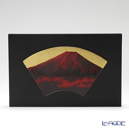 ノリタケ スタジオコレクション扇型陶額 赤富士 額36×23.5cm K100/AC195