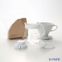Hario V60 for ceramic Dripper set 02 XVDD-3012 W 1 / 4 cup for measuring spoons & paper filter 100 copies made