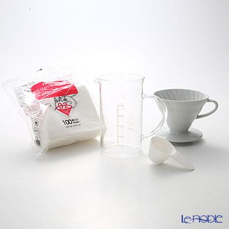 ハリオ V60用 セラミックドリッパ&ビーカーセット THD-3012W 1〜4杯用 【計量スプーン&ペーパーフィルター 100枚付】