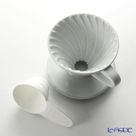 ハリオ式珈琲V60 透過ドリッパー01セラミックW(磁器製) VDC-01W 1〜2杯用 【計量スプーン付】