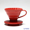 Hario Hot Brew Pour over V60 VDC-01R Coffee Dripper, Ceramic, Red