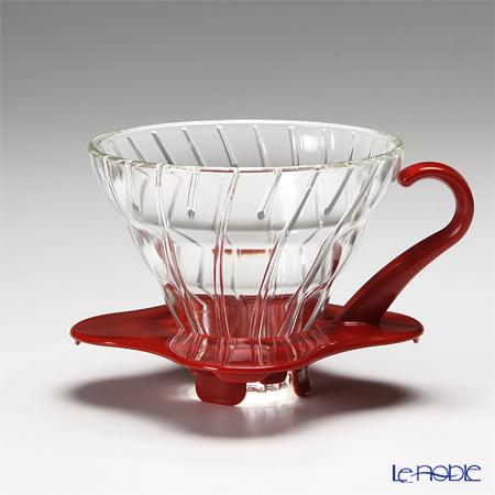 ハリオ V60 耐熱ガラス透過ドリッパー01 1〜2杯用 レッド VDG-01R 【計量スプーン付】
