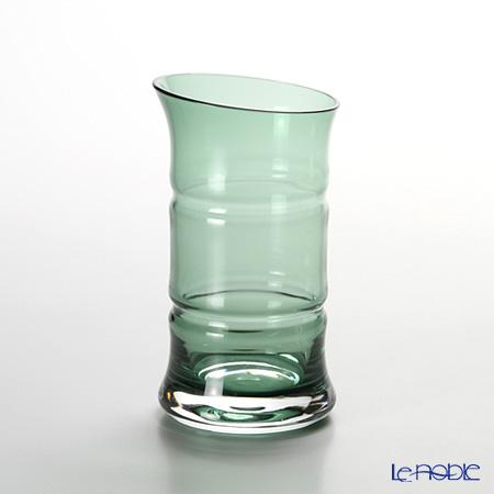 Hirota Glass -Edo Kiriko (case glass with cutting)- Green bamboo beer glass 145 cc, BAMBOO 84-GR