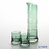 Hirota Glass 'Ao Take - Bamboo' Green 8681-GR Sake Cup, Carafe (set of 3 for 2 persons)