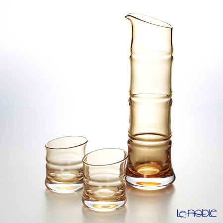 Hirota Glass 'Kin Take - Bamboo' Amber Yellow 8681-AMB Sake Cup, Carafe (set of 3 for 2 persons)