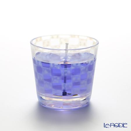 Hirota Glass 'Ichimatsu (Checked)' Blue / Opal White TR-331 Edo Candle Glass 144ml