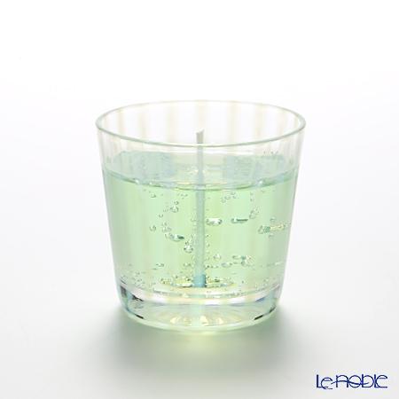 Hirota Glass 'Tokusa (Stripe)' Green / Opal White TR-333 Edo Candle Glass 144ml
