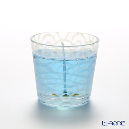 Hirota Glass 'Nami (Wave)' Blue / Opal White TR-335 Edo Candle Glass 144ml