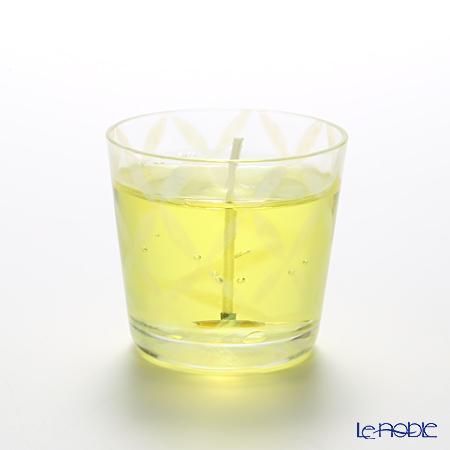 Hirota Glass 'Koushi (Plaid)' Yellow / Opal White TR-336 Edo Candle Glass 144ml