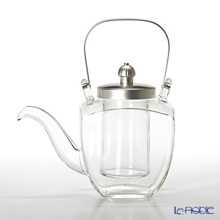 Hirota Glass 'Kaku Chirori - Silver Plated' 154-SLF Square Sake / Tea Pot with Strainer 450ml