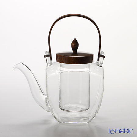 Hirota Glass 'Kaku Chirori - Lacquered' Brown 154-GT Square Sake / Tea Pot with Strainer 450ml