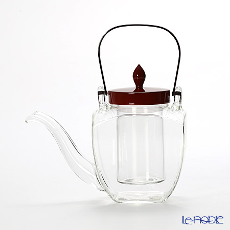 Hirota Glass Chirori Square with Vermilion Lacquer Lid, 450ml 154-RE