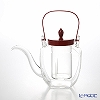 Hirota Glass Chirori for Tea Square, Vermilion Lacquer Lid with Ice Pot Filter, 450ml 154-RE-T