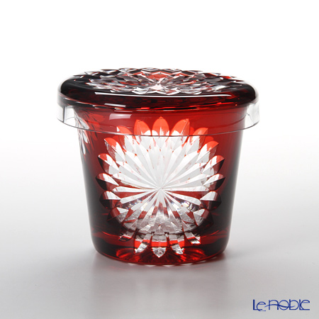 Hirota Glass / Edo Kiriko Flashed Glass 'Yae Giku' Red FC-1 Covered Rock Glass