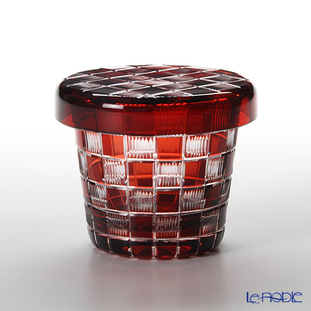 Hirota Glass / Edo Kiriko Flashed Glass 'Ichimatsu (Checked)' Red FC-2 Covered Rock Glass