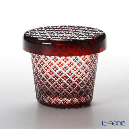 Hirota Glass / Edo Kiriko Flashed Glass 'Nijyuu Yarai' Red FC-3 Covered Rock Glass