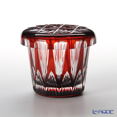 Hirota Glass / Edo Kiriko Flashed Glass 'Tsurara' Red FC-4 Covered Rock Glass