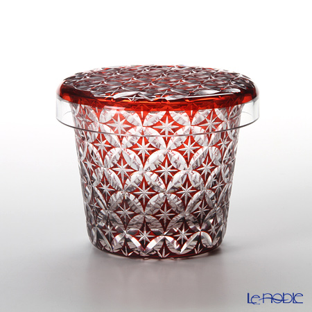 Hirota Glass / Edo Kiriko Flashed Glass 'Shippo' Red FC-5 Covered Rock Glass