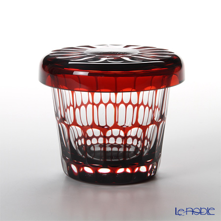 Hirota Glass / Edo Kiriko Flashed Glass 'Kamaboko' Red FC-7 Covered Rock Glass