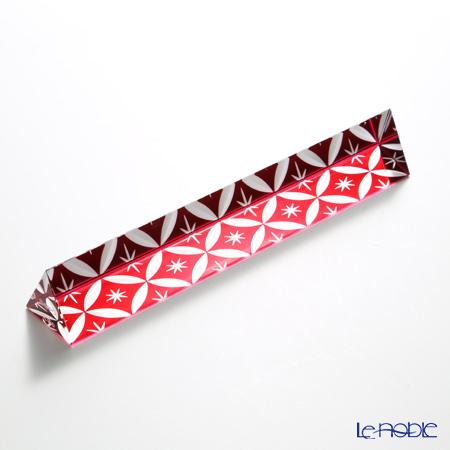 Hirota Glass / Lacquered Edo Kiriko 'Shippo gara' Red EDO-15 Triangle Paperweight 18cm