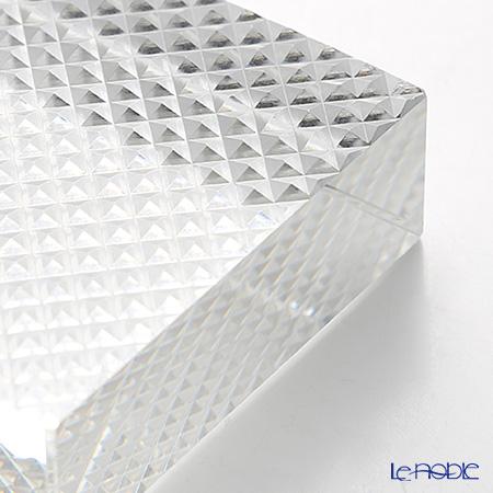 Hirota Glass / Edo Kiriko 'Nanako' Clear EDO-24 Rectangular Paperweight 8x6cm