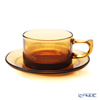 Hirota Glass 'Showa Modern' Amber MO-4000AM [Heat-registant Glass] Coffee Cup & Saucer 200ml