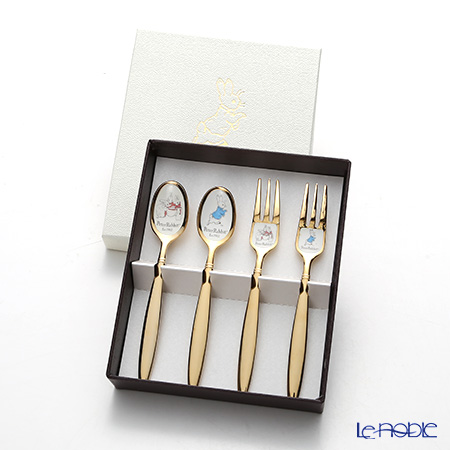 Peter Rabbit 'PR-0153 / Cloisonne' Gold Tea Spoon, Cake Fork (set of 4 for 2 persons)