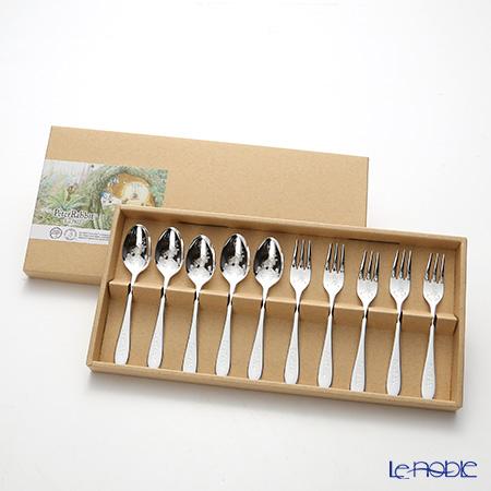 ピーターラビット PR-0251 皿中レーザーティースプーン&ケーキフォーク(銀仕上) 10本セット