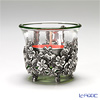 Loyfar (Pewter) 'Peony Flower' Footed Candle Holder with Glass Cup / Bowl 6xH5.5cm