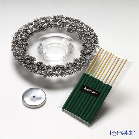 Loyfar (Pewter) 'Little Daisy Flower' Incense Holder with Glass Bowl  (set of Green Tea Incense Stick 10)