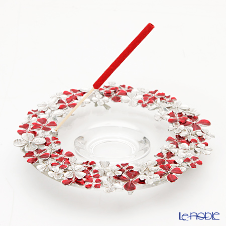 Loyfar (Pewter) 'Flower Wreath' Red Incense Holder with Glass Bowl (set of Rose incense 10 Stick, 5 Cone)
