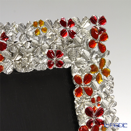Loyfar (Pewter) 'Peony Flower' Red & Orange Photo Frame 14x17.5cm