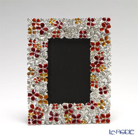 アジアン雑貨 LOYFAR フォトフレーム ピューター製フラワーオレンジ 14×17.5cm PF003C