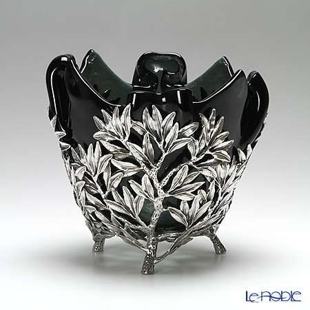 Loyfar 'Olive Leaf' [Pewter] Object with Black Glass Bowl H17cm