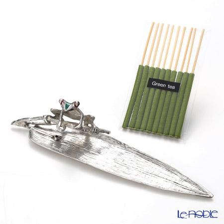 Loyfar 'Frog on Leaf' [Pewter] Incense Holder with Green Tea Incense Stick (set of 10)