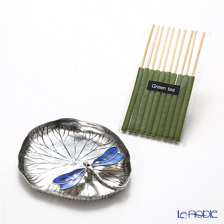 Loyfar 'Dragonfly on Lotus Leaf' Blue [Pewter] Incense Holder with Green Tea Incense Stick (set of 10)