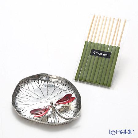 Loyfar 'Dragonfly on Lotus Leaf' Red [Pewter] Incense Holder with Green Tea Incense Stick (set of 10)