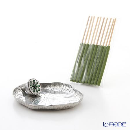 Loyfar 'Lotus Fruit with Lotus Leaf' Green Seed [Pewter] Incense Holder with Green Tea Incense Stick (set of 10)