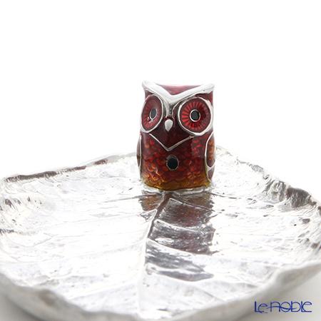 Loyfar 'Owl on Leaf' Red [Pewter] Incense Holder with Rose Incense Stick (set of 10)