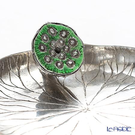 Loyfar 'Lotus Fruit with Lotus Leaf' Green [Pewter] Incense Holder with Green Tea Incense Stick (set of 10)