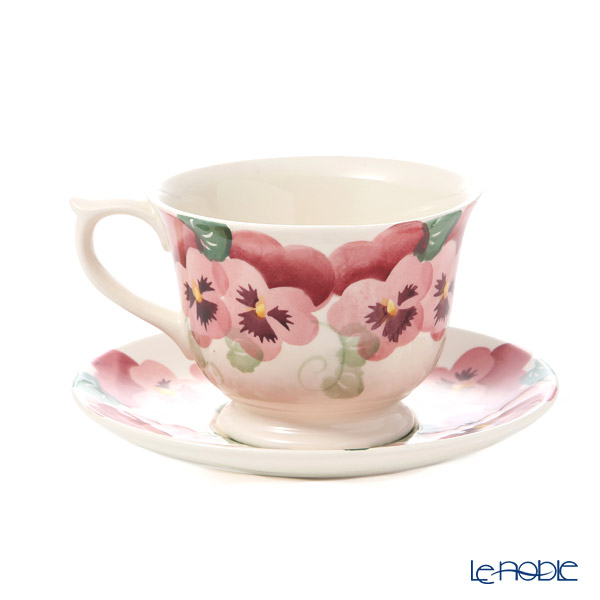 Emma Bridgewater / Earthenware 'Pink Pansy (Flower)' Large Tea Cup & Saucer 284ml